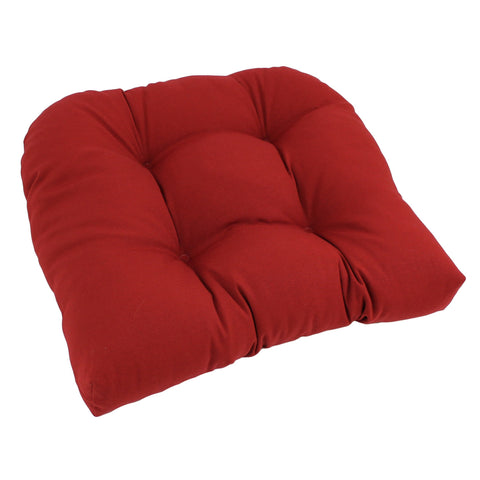 19-inch U-Shaped Twill Tufted Dining Chair Cushion - Ruby Red