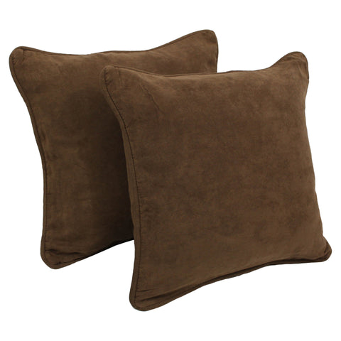 18-inch Double-corded Solid Microsuede Square Throw Pillows with Inserts (Set of 2) - Chocolate