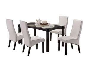 Pilaster Designs - Dining Dinette - Kitchen Table & White Upholstered Parson Chairs (Table & 4 Chairs)