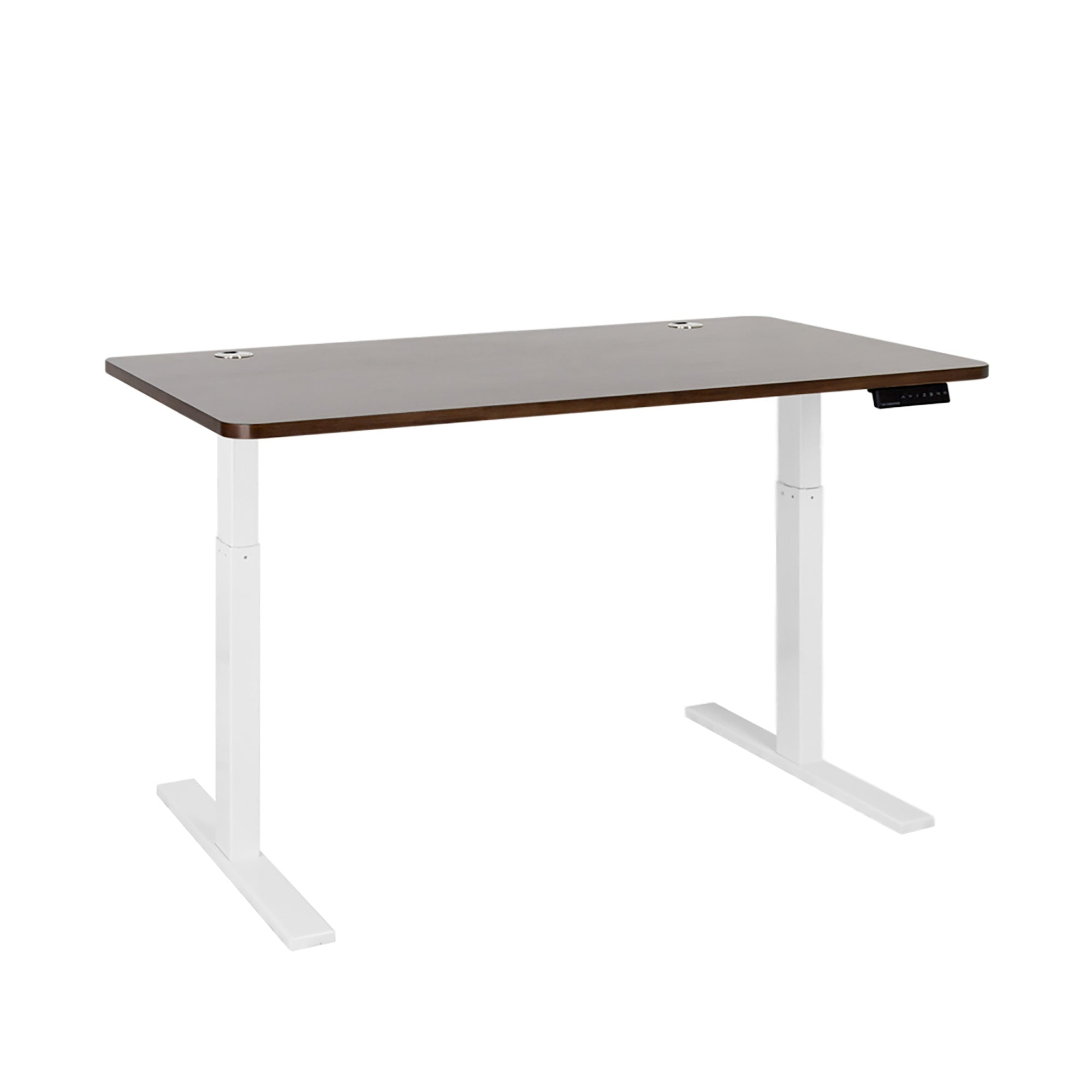 "ActiveDesk Standing Desk with Electric Adjustble Height 28 - 46 inches, White Frame - Walnut Classic Table Top size 53"" x 30"""