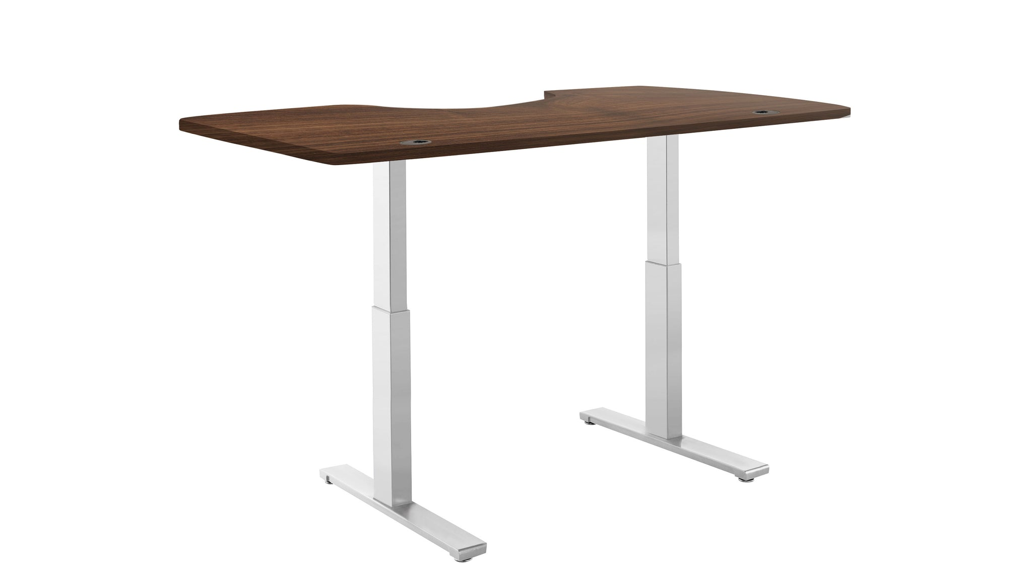 "ActiveDesk Standing Desk with Electric Adjustble Height 28 - 46 inches, Grey Frame - Walnut Ergo Table Top size 53"" x 30"""