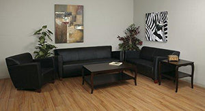 Osp Furniture Modern Black Leather Sofa With Cherry Finish Legs