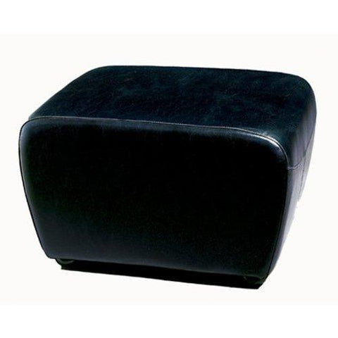 Baxton Studio Full Leather Ottoman, Black