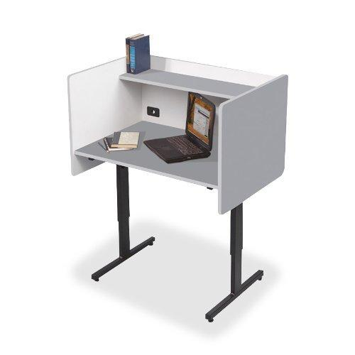 Balt Study Carrels With Laminate Finish, 37-Inch By 24-Inch By 38-1/4-46-1/4-Inch, Gray