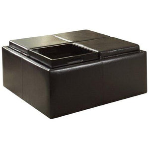 Homelegance Contemporary Storage Ottoman With Four Flip Top Tray Inserts, Dark Brown Faux