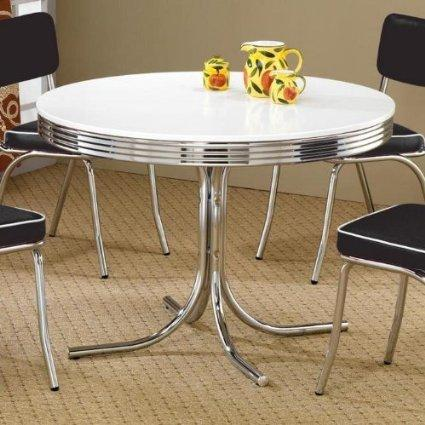 Coaster Retro Round Dining Kitchen Table In Chrome / White