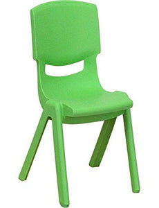 Flash Furniture YU-YCX-003-GREEN-GG Green Plastic Stackable School Chair with 10-1/2-Inch Seat Height