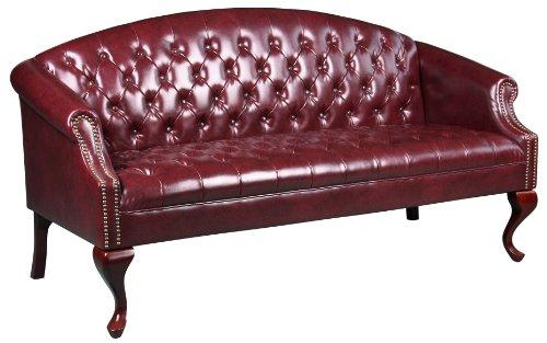 Boss Office Products Br99803-By Classic Traditional Button Tufted Sofa In Oxblood