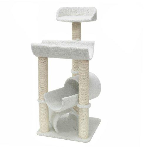 Majestic Pet Products 44 Inch Cream Bungalow Cat Furniture Condo House Scratcher Multi Level Pet Activity Tree