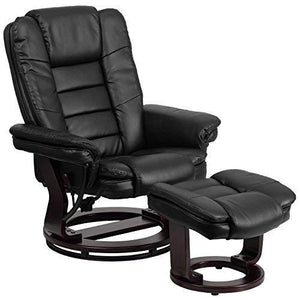 Flash Furniture Contemporary Black Leather Recliner And Ottoman With Swiveling Mahogany Wood Base