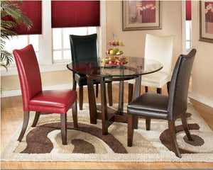 Charrell Metro Modern Medium Brown Finish Round Dining Table With Glass Top