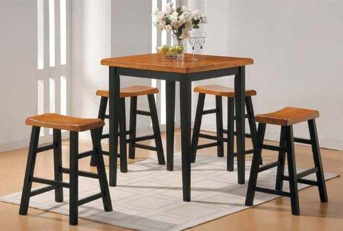 Acme 07285 5-Piece Gaucho Counter Height Dining Table, Oak And Black Finish