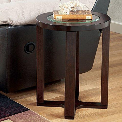 Ashley Furniture T477-6 Marion Round Glass End Table, Dark Brown