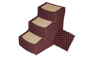 Pet Gear Designer 3-Step With Removable Cover, Pet Stairs, Burgundy