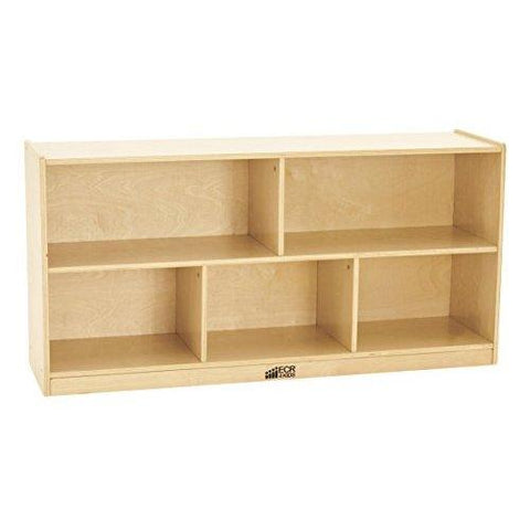 Ecr4Kids Birch 5-Section School Classroom Storage Cabinet With Casters, Natural, 24' H