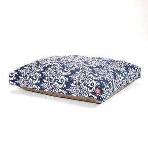 Navy Blue French Quarter Large Rectangle Indoor Outdoor Pet Dog Bed With Removable Washable Cover By Majestic Pet Products