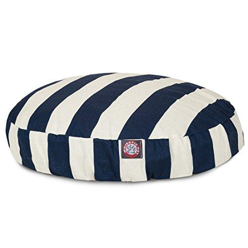 Navy Blue Vertical Stripe Large Round Indoor Outdoor Pet Dog Bed With Removable Washable Cover By Majestic Pet Products