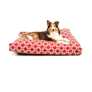 Red Links Large Rectangle Indoor Outdoor Pet Dog Bed With Removable Washable Cover By Majestic Pet Products