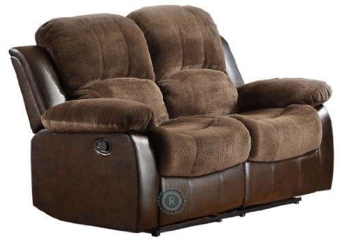 Upholstered Recliner Loveseat In Dark Brown Faux Leather By Homelegance