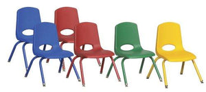 ECR4Kids School Stack Chair with Powder Coated Legs/ Nylon Swivel Glides, 12, 6-Pack, Assorted Colors