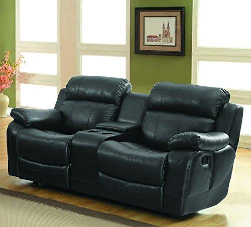 Homelegance Marille Reclining Loveseat W/ Center Console Cup Holder, Black Bonded Leather