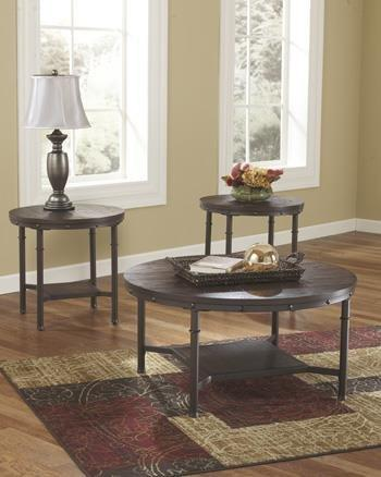 Ashley T277-13 Sandling Rustic Brown Metal Round 3 Pc Coffee End Table Set