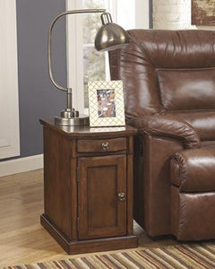 Ashley T127-565 Power Chairside End Table Medium Brown Finish