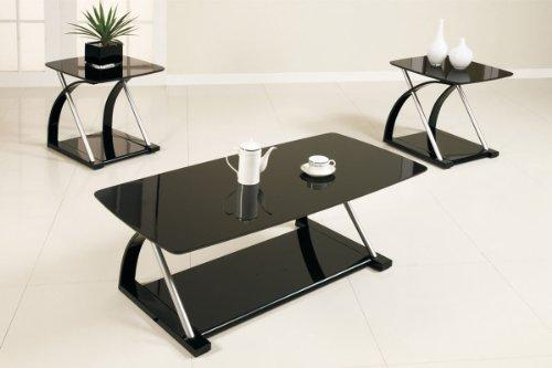 3-Pcs Table Set In Silver Metal And Black Veneer By Poundex