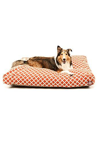 Burnt Orange Bamboo Large Rectangle Indoor Outdoor Pet Dog Bed With Removable Washable Cover By Majestic Pet Products