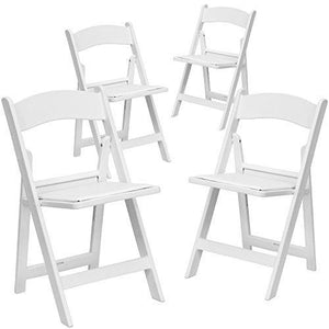 Flash Furniture 4 Pk. Hercules Series 1000 Lb. Capacity White Resin Folding Chair With White Vinyl Padded Seat