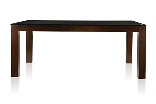 Furniture of America Renolds Dining Table with 10mm Black Tempered Glass Top, Dark Cherry Finish