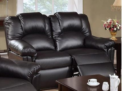 Bobkona Motion Loveseat In Black Bonded Leather By Poundex