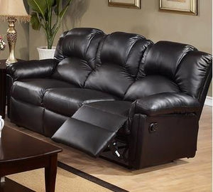 Black Bonded Leather Motion Recliner Sofa By Poundex