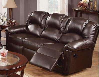 Espresso Bonded Leather Reclining Motion Sofa By Poundex