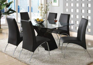 Furniture Of America Rivendale Modern Dining Table With 12Mm Tempered Glass Top, Black Finish