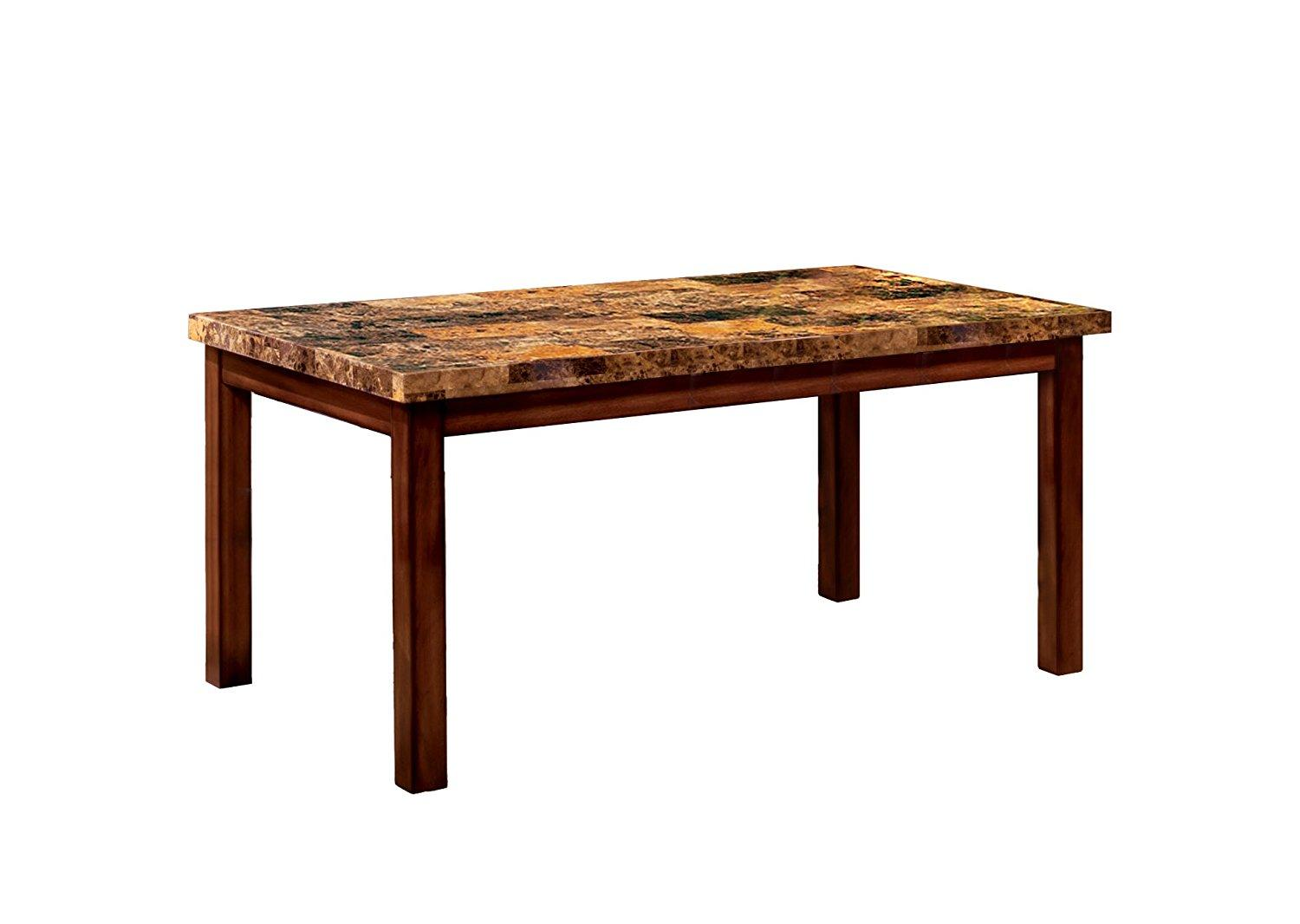 Furniture Of America Carignan 60-Inch Dining Table With Faux Marble Top, Dark Oak Finish