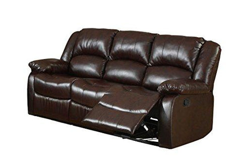 Furniture Of America Poulanc Bonded Leather Match Recliner Sofa, Brown