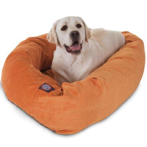 40 Inch Orange Villa Collection Micro Velvet Bagel Dog Bed By Majestic Pet Products