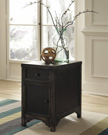Ashley Furniture Signature Design Gavelston Chair Side End Table, Rubbed Black Finish