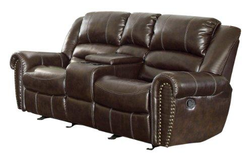Homelegance 9668Brw-2 Double Glider Reclining Loveseat With Center Console, Brown Bonded Leather