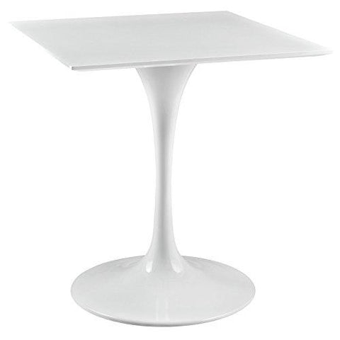Modway Lippa 28 Square Wood Top Dining Table In White