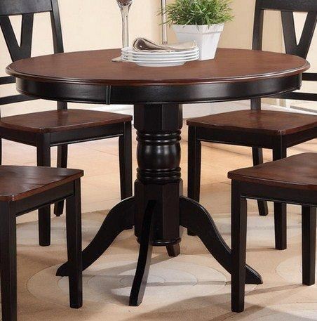 Black/ Cherry Round Dining Table By Poundex