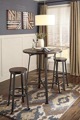 Ashley Furniture Signature Design Challiman Round Dining Room Bar Table, Rustic Brown