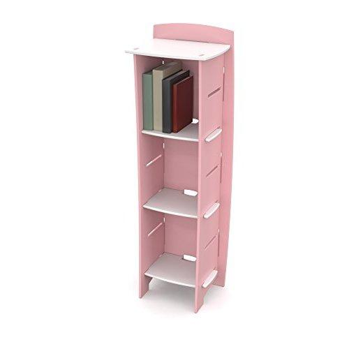 Legarã© Kids Furniture Princess Series Collection, No Tools Assembly 3-Shelf Bookcase, Pink And White