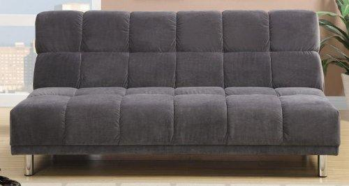 Poundex F7010 Gray Tufted Microfiber Fabric Adjustable Sofa