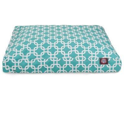 Teal Links Medium Rectangle Indoor Outdoor Pet Dog Bed With Removable Washable Cover By Majestic Pet Products
