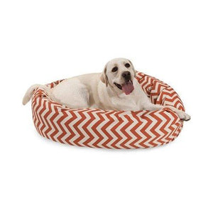 40 Inch Burnt Orange Chevron Sherpa Bagel Dog Bed