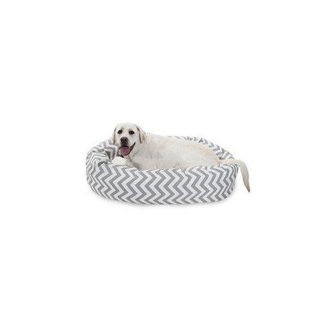 40 Inch Grey Chevron Sherpa Bagel Dog Bed