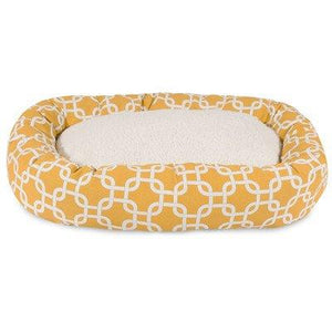 32 Inch Yellow Links Sherpa Bagel Dog Bed