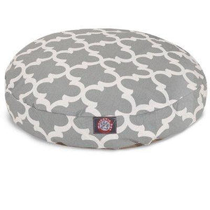 Gray Trellis Medium Round Indoor Outdoor Pet Dog Bed With Removable Washable Cover By Majestic Pet Products
